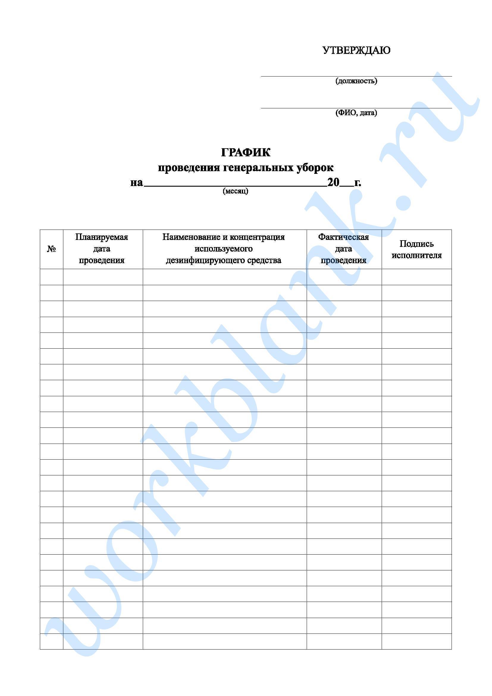 Инструкция по проведению генеральных уборках